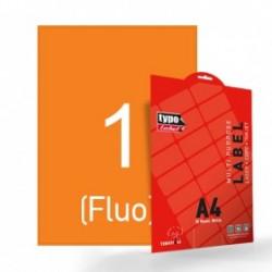 Αυτοκόλλητες ετικέτες πορτοκαλί fluo εκτυπωτών Α4 210x297mm