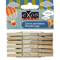 Wooden pegs 48mm set of 12 pieces