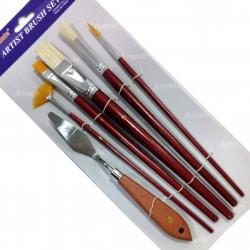 Πινέλα ζωγραφικής ARTMATE σετ 5 τεμάχια με σπάτουλα