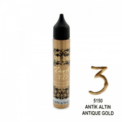 Perlen pen DORA 3D CADENCE ANTIQUE GOLD 5150