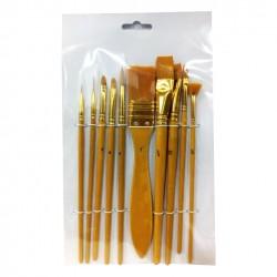 Πινέλα ζωγραφικής gold σετ 10 τεμαχίων