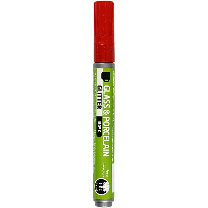Μαρκαδόρος πορσελάνης και γυαλιού RED GLITTER
