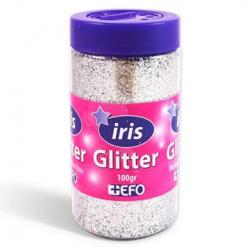Χρυσόσκονη glitter ασημί IRIS 100gr