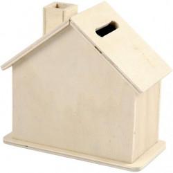 Piggy bank wooden house 10cm